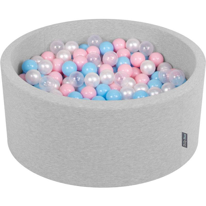 KiddyMoon 90X40cm/200 Balles ∅ 7Cm Piscine À Balles Pour Bébé Rond Fabriqué En UE, Gris Clair:Baby Bleu/Rose Poudre/Perle/Transparent