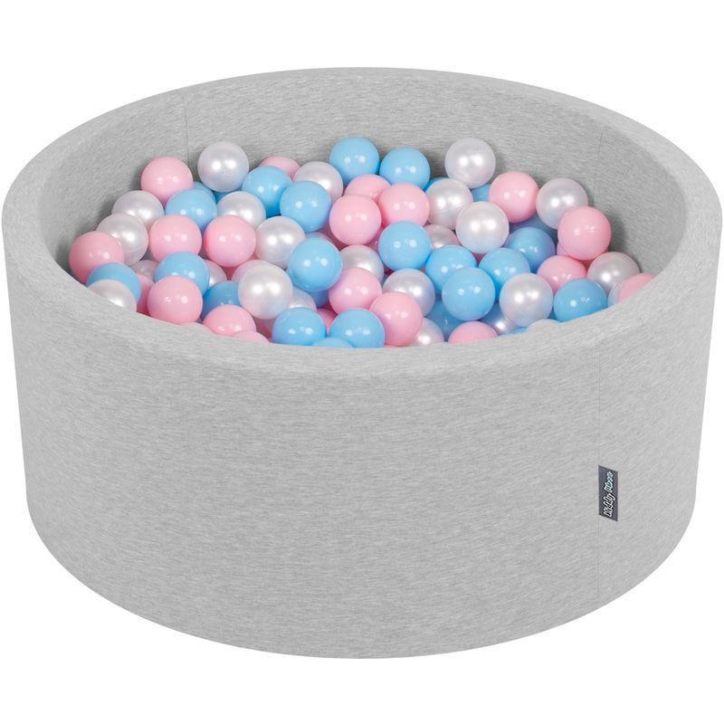 KiddyMoon 90X40cm/200 Balles ? 7Cm Piscine À Balles Pour Bébé Rond Fabriqué En UE, Gris Clair:Baby Blue/Rose Poudré/Perle