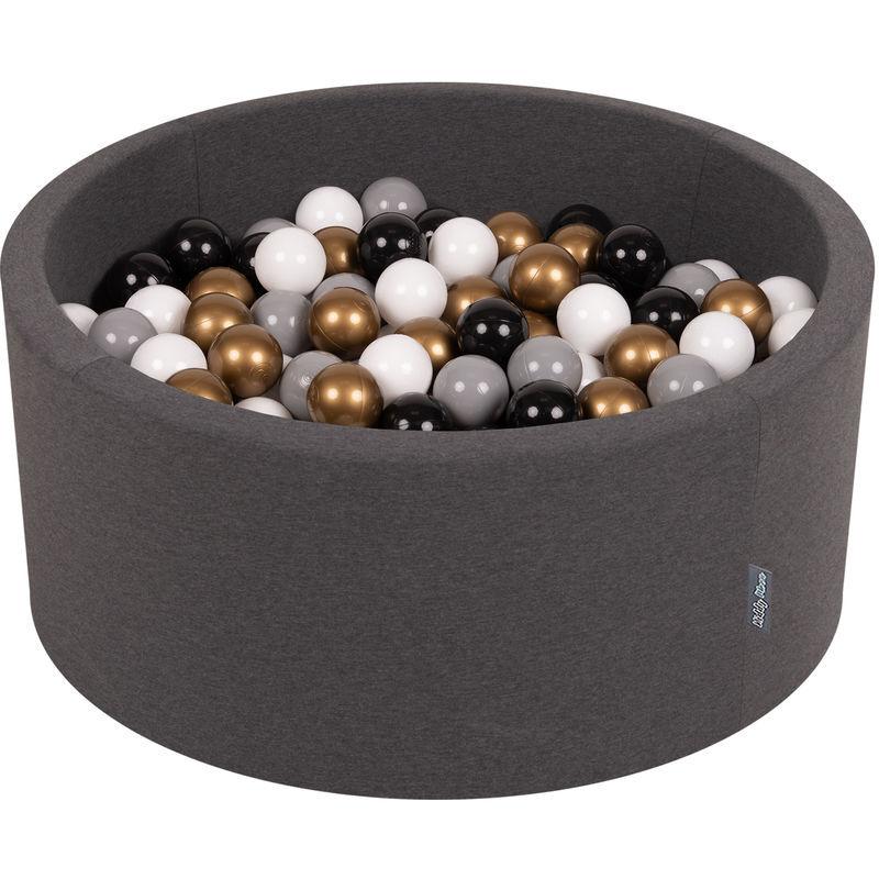 KiddyMoon 90X40cm/200 Balles ? 7Cm Piscine À Balles Pour Bébé Rond Fabriqué En UE, Gris Foncé:Blanc/Gris/Noir/Or