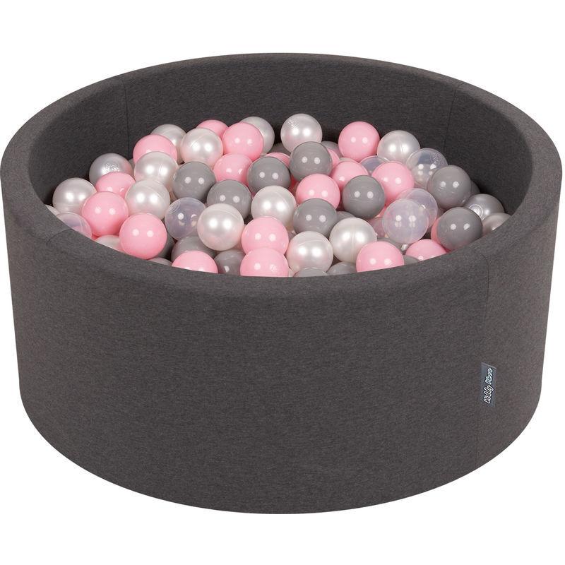 KiddyMoon 90X40cm/200 Balles ? 7Cm Piscine À Balles Pour Bébé Rond Fabriqué En UE, Gris Foncé:Perle/Gris/Transparent/Rose Poudré
