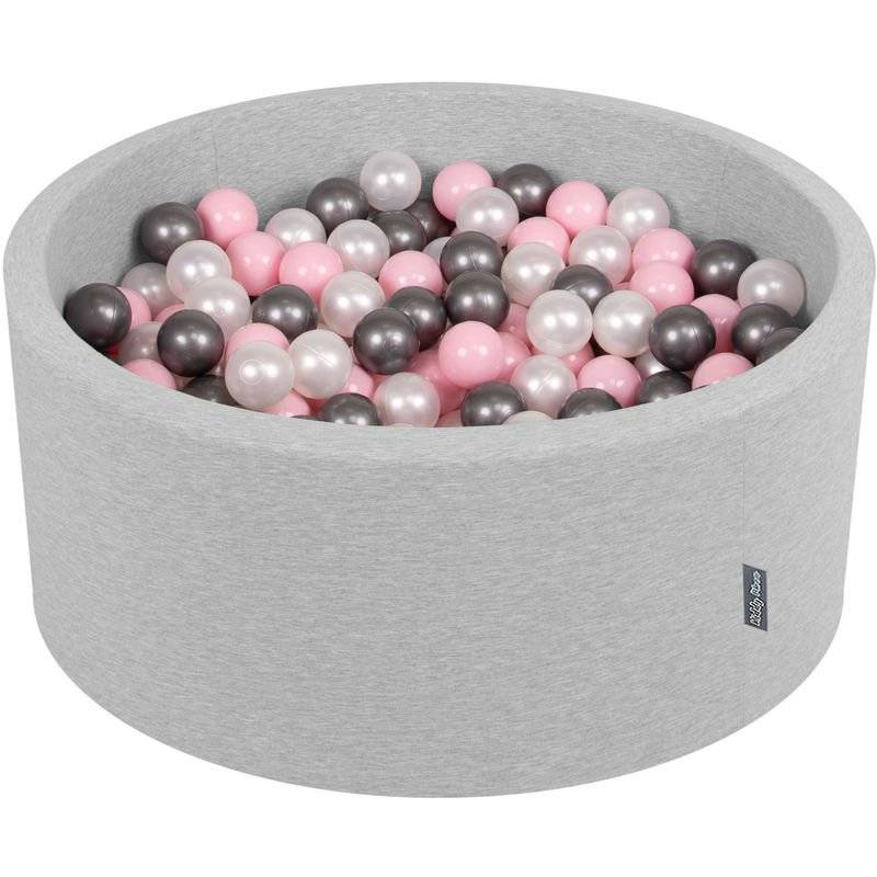 KiddyMoon 90X40cm/200 Balles ? 7Cm Piscine À Balles Pour Bébé Rond Fabriqué En UE, Gris Clair:Perle/Rose Poudré/Argenté
