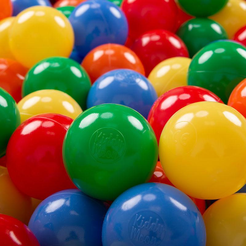 KiddyMoon 200 ∅ 7Cm Balles Colorées Plastique Pour Piscine Enfant Bébé Fabriqué En EU, Jaune/Vert/Bleu/Rouge/Orange