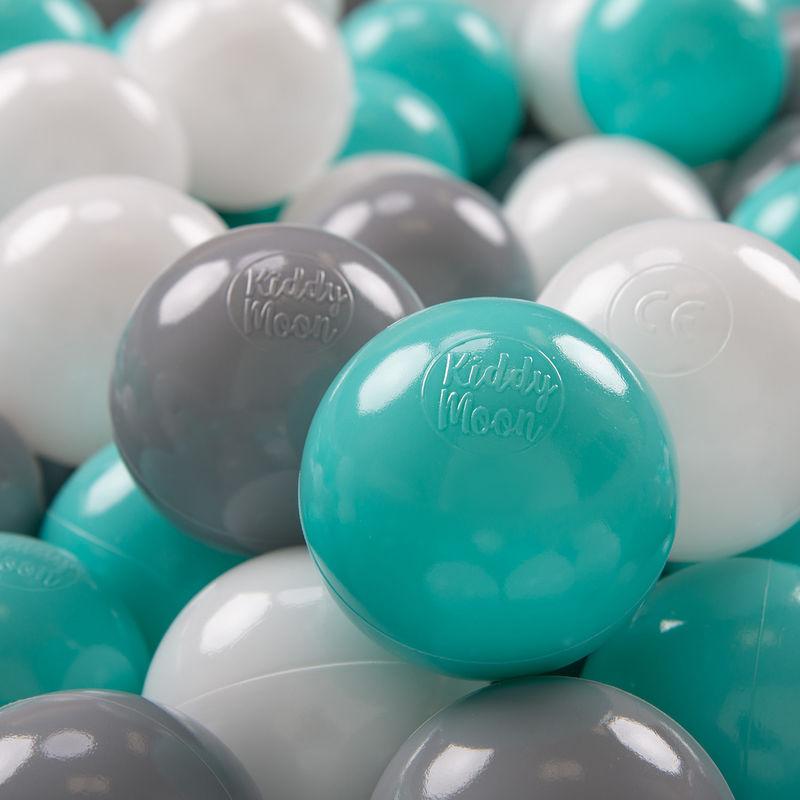 KIDDYMOON 100 ? 7Cm Balles Colorées Plastique Pour Piscine Enfant Bébé Fabriqué En EU, Blanc/Gris/Turquoise Clair - Kiddymoon