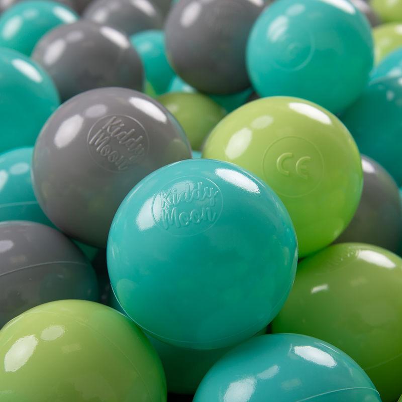 KIDDYMOON 100 ? 7Cm Balles Colorées Plastique Pour Piscine Enfant Bébé Fabriqué En EU, Vert Clair/Turquoise Clair/Gris - Kiddymoon
