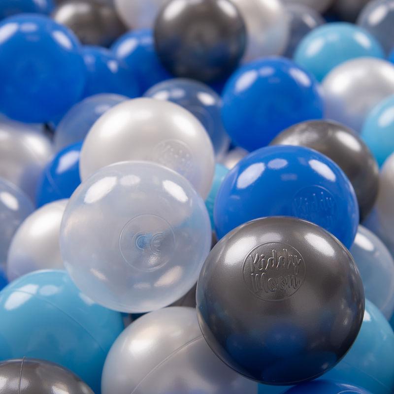 KIDDYMOON 100 ? 7Cm Balles Colorées Plastique Pour Piscine Enfant Bébé Fabriqué En EU, Perle/Bleu/Baby Bleu/Transparent/Argenté - Kiddymoon
