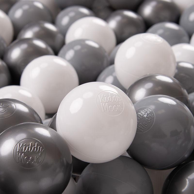 KIDDYMOON 100 ? 7Cm Balles Colorées Plastique Pour Piscine Enfant Bébé Fabriqué En EU, Blanc/Gris/Argenté - Kiddymoon