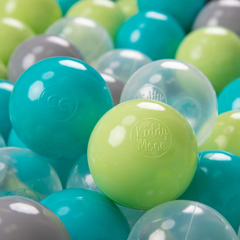 KIDDYMOON 200 ? 7Cm Balles Colorées Plastique Pour Piscine Enfant Bébé Fabriqué En EU, Turquoise/Vert Clair/Gris/Transparent - Kiddymoon