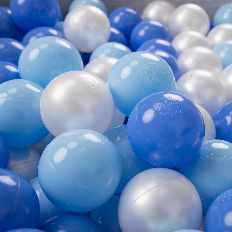 KIDDYMOON 100/6Cm ? Balles Colorées Plastique Pour Piscine Enfant Bébé Fabriqué En EU, Baby Blue/Bleu/Perle - Kiddymoon