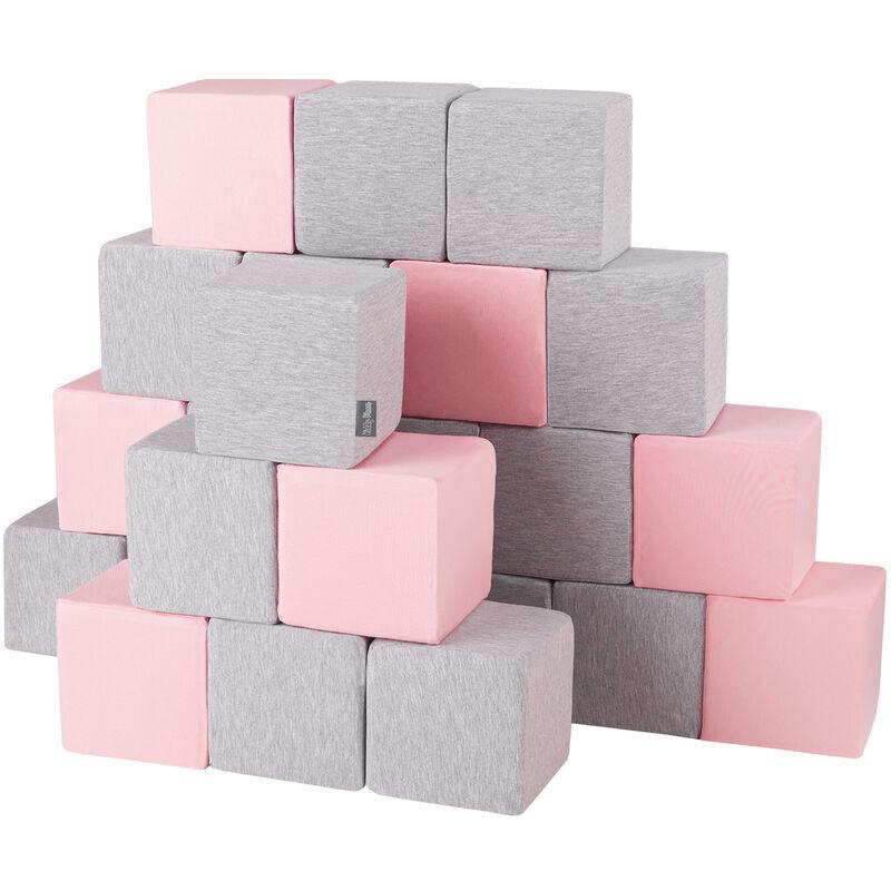 KIDDYMOON Blocs Mous Pour Bébé 24 Pièces Cubes De Construction En Mousse 14Cm, Cubes: Gris Clair/Rose - Kiddymoon