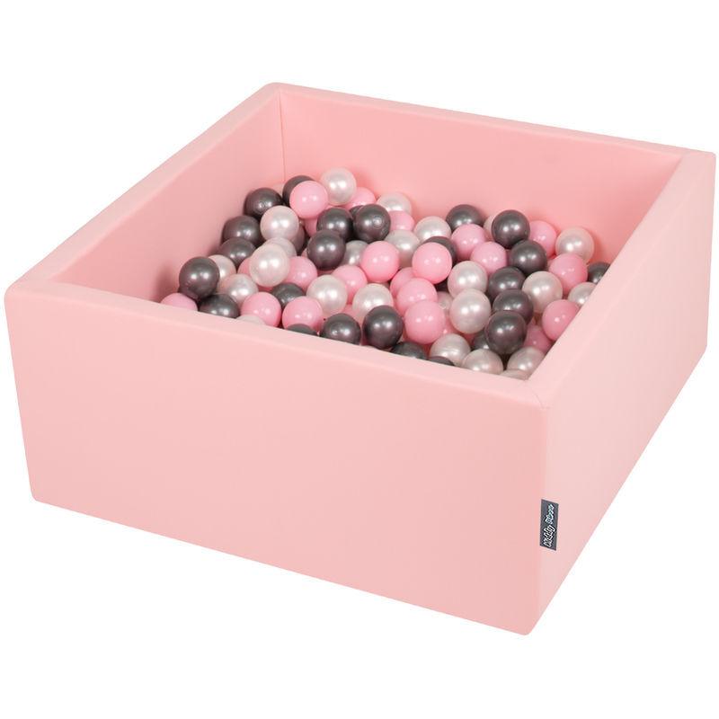 KIDDYMOON 90X40cm/200 Balles ? 7Cm Carré Piscine À Balles Pour Bébé Fabriqué En UE, Rose : Perle/Rose Poudré/Argenté - Kiddymoon