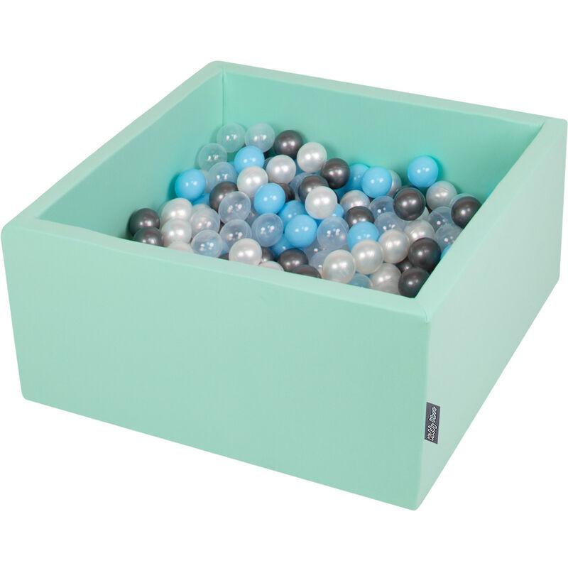 KiddyMoon 90X40cm/200 Balles ? 7Cm Carré Piscine À Balles Pour Bébé Fabriqué En UE, Menthe : Transparent/Argenté/Perle/Babyblue