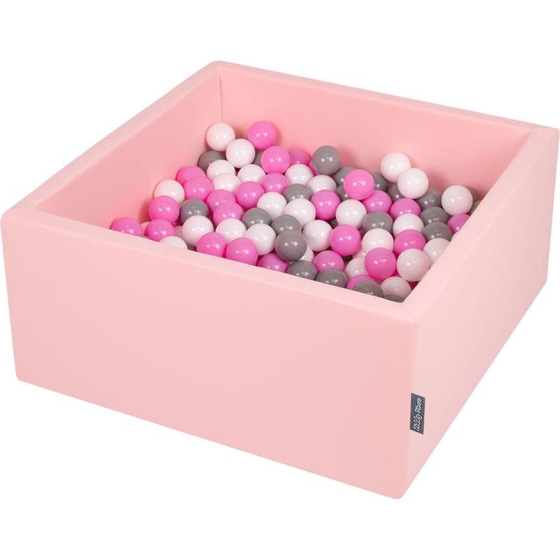 KiddyMoon 90X40cm/200 Balles ∅ 7Cm Carré Piscine À Balles Pour Bébé Fabriqué En UE, Rose:Gris/Blanc/Rose