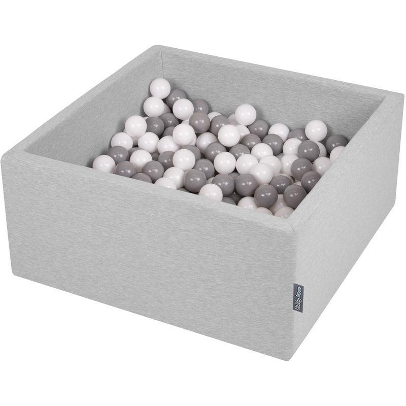 KIDDYMOON 90X40cm/300 Balles ? 7Cm Carré Piscine À Balles Pour Bébé Fabriqué En UE, Gris Clair: Blanc/Gris - Kiddymoon