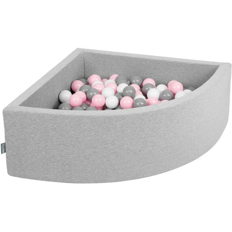 KIDDYMOON 90X30cm/300 Balles Piscine À Balles ? 7Cm Pour Bébé Quart Angulaire Fabriqué En UE, Gris Clair: Blanc/Gris/Rose Poudré - Kiddymoon