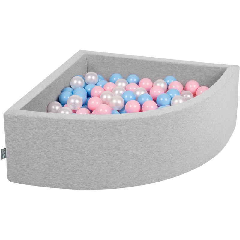 KIDDYMOON 90X30cm/300 Balles Piscine À Balles ? 7Cm Pour Bébé Quart Angulaire Fabriqué En UE, Gris Clair: Babyblue/Rose Poudré/Perle - Kiddymoon