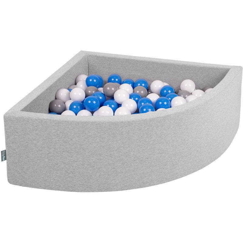 KiddyMoon 90X30cm/300 Balles Piscine À Balles ∅ 7Cm Pour Bébé Quart Angulaire Fabriqué En UE, Gris Clair: Gris/Blanc/Bleu