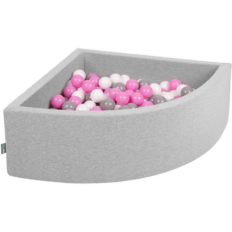 KIDDYMOON 90X30cm/200 Balles Piscine À Balles ? 7Cm Pour Bébé Quart Angulaire Fabriqué En UE, Gris Clair: Gris/Blanc/Rose - Kiddymoon