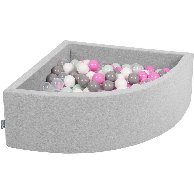 KiddyMoon 90X30cm/300 Balles Piscine À Balles ? 7Cm Pour Bébé Quart Angulaire Fabriqué En UE, Gris Clair:Transparent/Gris/Blanc/Rosa/Menthe