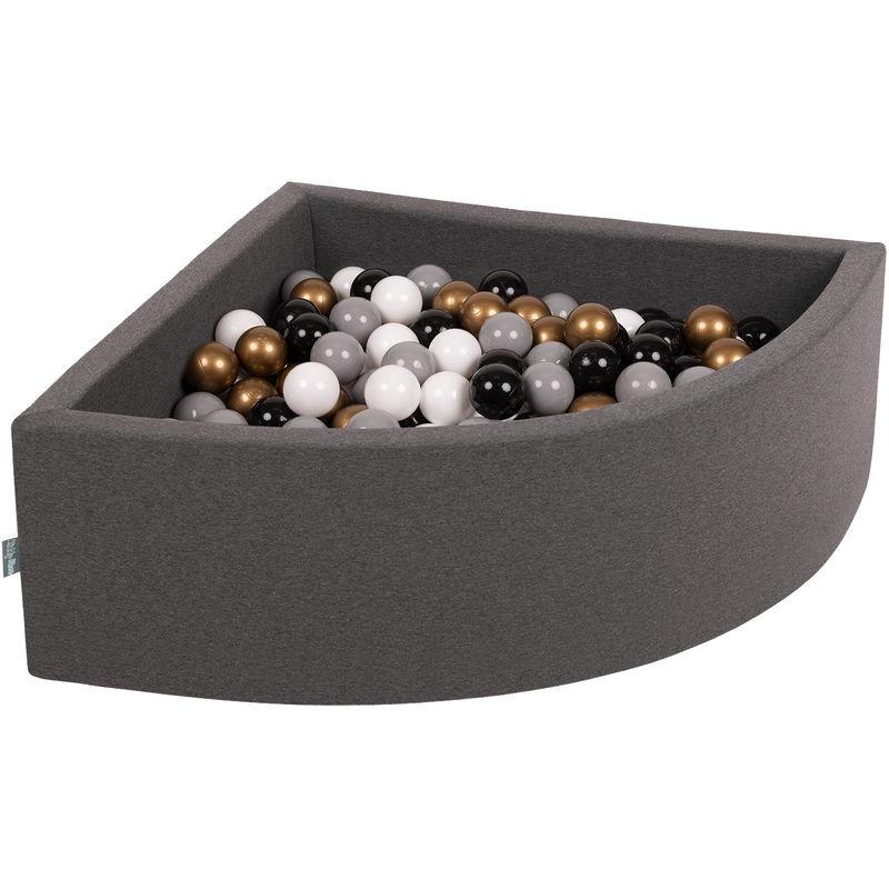 KiddyMoon 90X30cm/200 Balles Piscine À Balles ∅ 7Cm Pour Bébé Quart Angulaire Fabriqué En UE, Gris Foncé: Blanc/Gris/Noir/Or