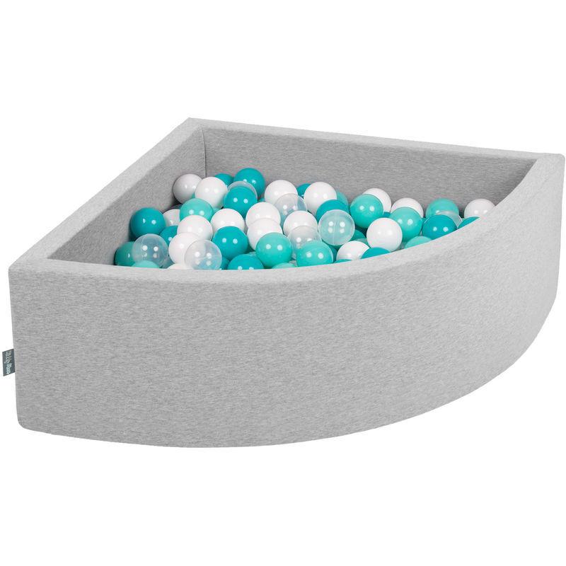 KiddyMoon 90X30cm/300 Balles Piscine À Balles ? 7Cm Pour Bébé Quart Angulaire Fabriqué En UE, Gris Clair:Turquoise Clr/Blanc/Transparent/Turq