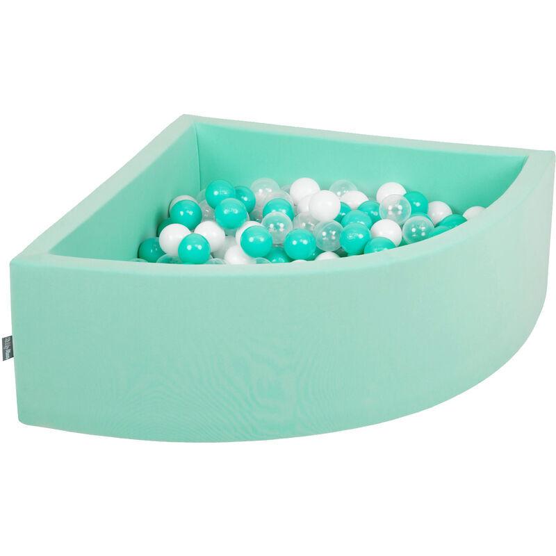 KiddyMoon 90X30cm/300 Balles Piscine À Balles ∅ 7Cm Pour Bébé Quart Angulaire Fabriqué En UE, Menthe: Turquoise Clair/Blanc/Transparent