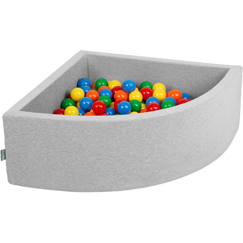 KIDDYMOON 90X30cm/300 Balles Piscine À Balles ? 7Cm Pour Bébé Quart Angulaire Fabriqué En UE, Gris Clair: Jaune/Vert/Bleu/Rouge/Orange - Kiddymoon
