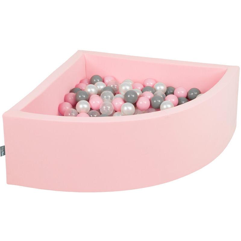 KIDDYMOON 90X30cm/200 Balles Piscine À Balles ? 7Cm Pour Bébé Quart Angulaire Fabriqué En UE, Rose : Perle/Gris/Transparent/Rose Poudré - Kiddymoon
