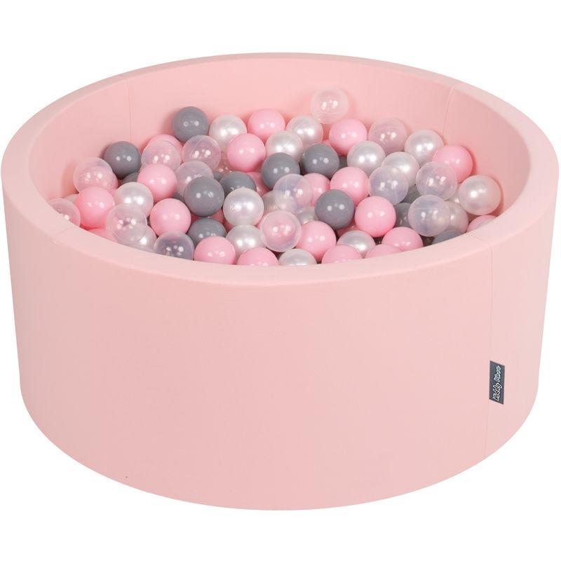 KiddyMoon 90X40cm/300 Balles ? 7Cm Piscine À Balles Pour Bébé Rond Fabriqué En UE, Rose:Perle/Gris/Transparent/Rose Poudré