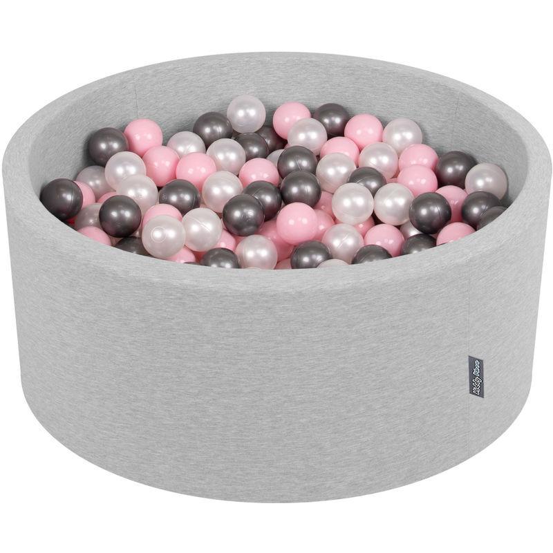 KiddyMoon 90X40cm/300 Balles ? 7Cm Piscine À Balles Pour Bébé Rond Fabriqué En UE, Gris Clair:Perle/Rose Poudré/Argenté