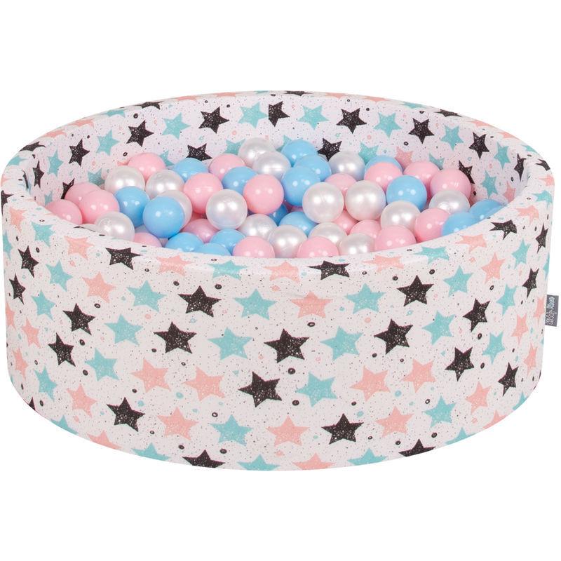 KIDDYMOON 90X30cm/300 Balles ? 7Cm Piscine À Balles Pour Bébé Rond Fabriqué En UE, Ecru:Baby Blue/Rose Poudré/Perle - Kiddymoon
