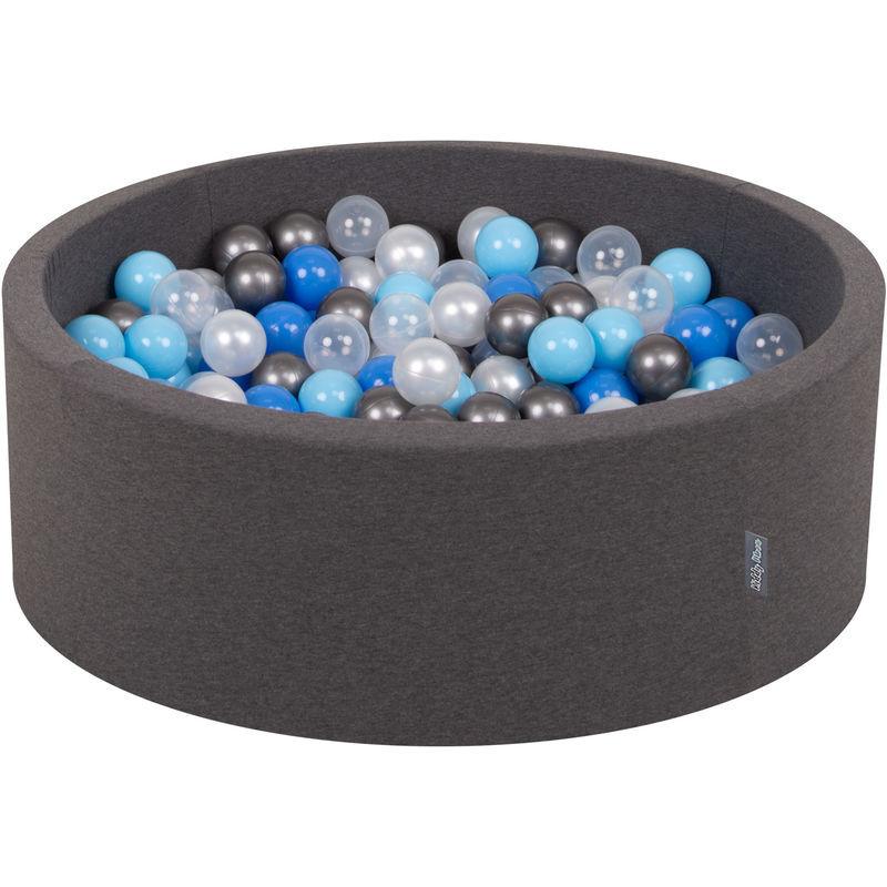 KiddyMoon 90X30cm/300 Balles ∅ 7Cm Piscine À Balles Pour Bébé Rond Fabriqué En UE, Gris Foncé:Perle/Bleu/Babyblue/Transparent/Argenté
