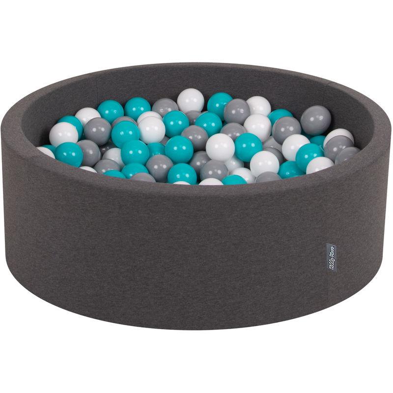KIDDYMOON 90X30cm/300 Balles ? 7Cm Piscine À Balles Pour Bébé Rond Fabriqué En UE, Gris Foncé: Gris/Blanc/Turquoise - Kiddymoon