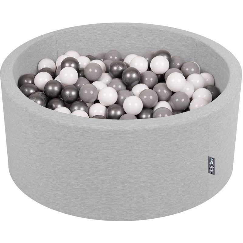 KiddyMoon 90X40cm/300 Balles ? 7Cm Piscine À Balles Pour Bébé Rond Fabriqué En UE, Gris Clair:Blanc/Gris/Argenté