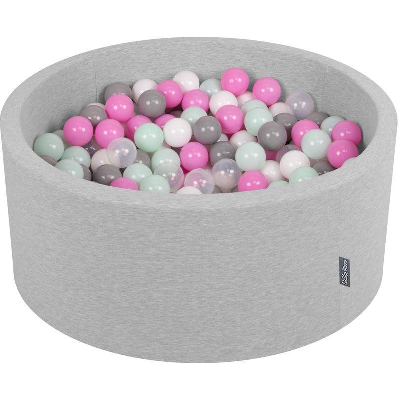 KiddyMoon 90X40cm/300 Balles ∅ 7Cm Piscine À Balles Pour Bébé Rond Fabriqué En UE, Gris Clair:Transparent/Gris/Blanc/Rose/Menthe