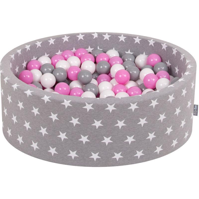 KiddyMoon 90X30cm/300 Balles ? 7Cm Piscine À Balles Pour Bébé Rond Fabriqué En UE, Étoiles Blanc-Gris:Gris/Blanc/Rose