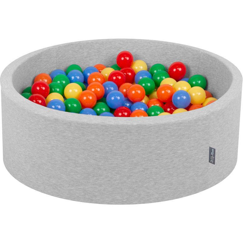 KiddyMoon 90X30cm/300 Balles ∅ 7Cm Piscine À Balles Pour Bébé Rond Fabriqué En UE, Gris Clair:Jaune/Vert/Bleu/Rouge/Orange