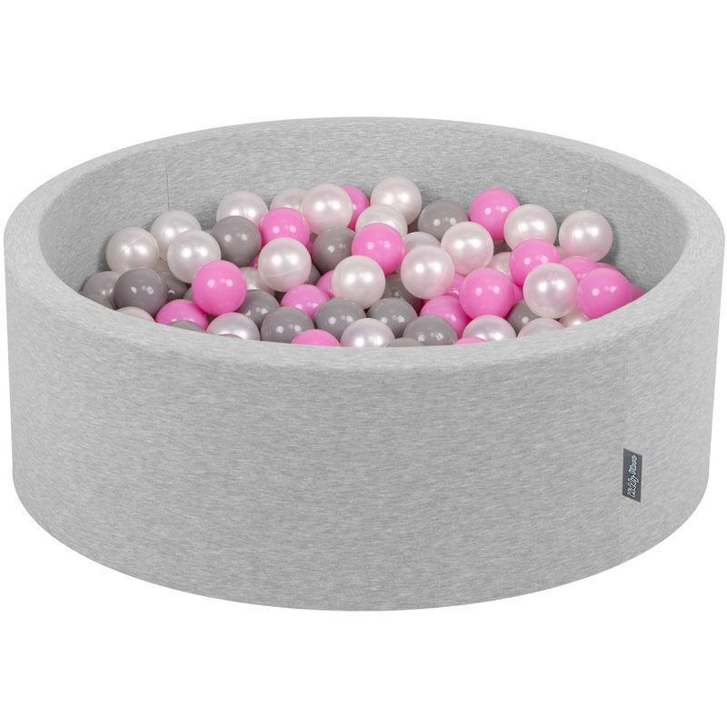KIDDYMOON 90X30cm/200 Balles ? 7Cm Piscine À Balles Pour Bébé Rond Fabriqué En UE, Gris Clair: Perle/Gris/Rose - Kiddymoon