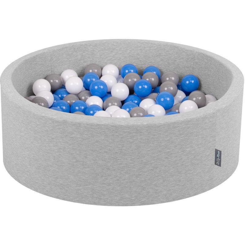 KiddyMoon 90X30cm/200 Balles ∅ 7Cm Piscine À Balles Pour Bébé Rond Fabriqué En UE, Gris Clair: Gris/Blanc/Bleu