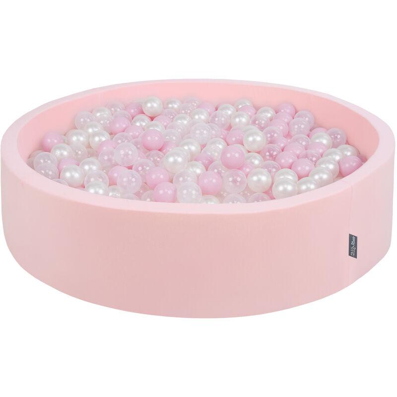 KiddyMoon Piscine À Balles 120X30cm/200 Balles Grande Rond Pour Bébé, Fabriqué En UE, Rose:Rose Poudré-Perle-Transparent