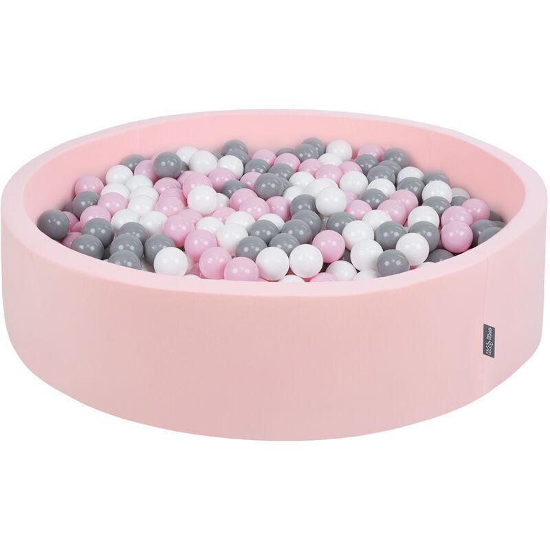 KIDDYMOON Piscine À Balles 120X30cm/200 Balles Grande Rond Pour Bébé, Fabriqué En UE, Rose: Blanc-Gris-Rose Poudré - Kiddymoon