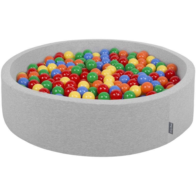 KiddyMoon Piscine À Balles 120X30cm/200 Balles Grande Rond Pour Bébé, Fabriqué En UE, Gris Clair: Jaune-Vert-Bleu-Rouge-Orange