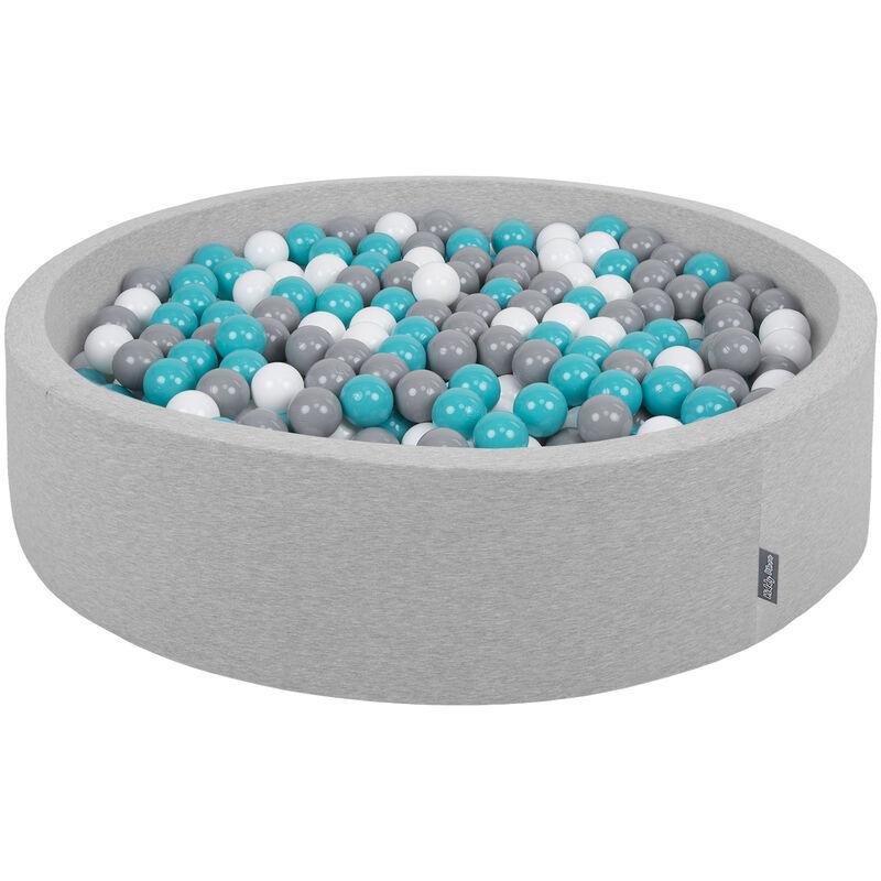 KIDDYMOON Piscine À Balles 120X30cm/200 Balles Grande Rond Pour Bébé, Fabriqué En UE, Gris Clair:Gris-Blanc-Turquoise - Kiddymoon