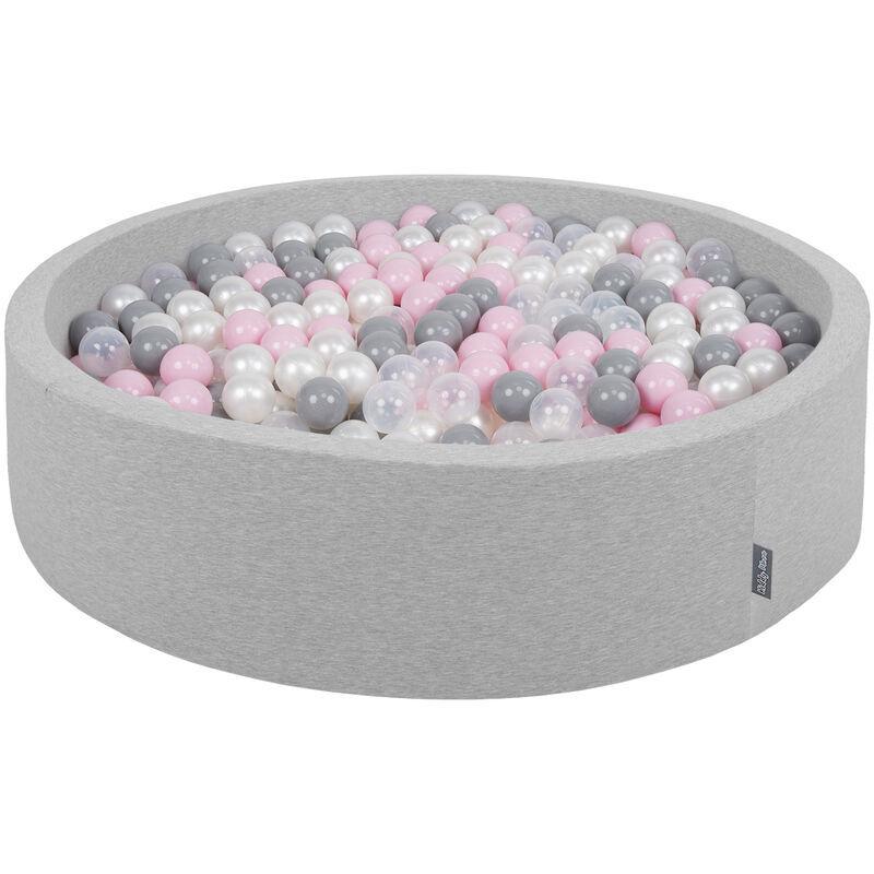 KiddyMoon Piscine À Balles 120X30cm/200 Balles Grande Rond Pour Bébé, Fabriqué En UE, Gris Cl:Perle-Gris-Transp-Rose Poudré