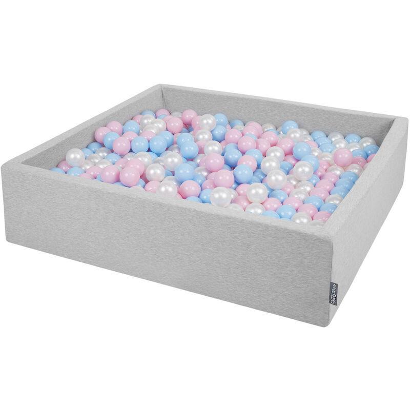 KiddyMoon Piscine À Balles 120X30cm/300 Balles Grande Carré Pour Bébé, Fabriqué En UE, Gris Clair: Babyblue-Rose Poudré-Perle