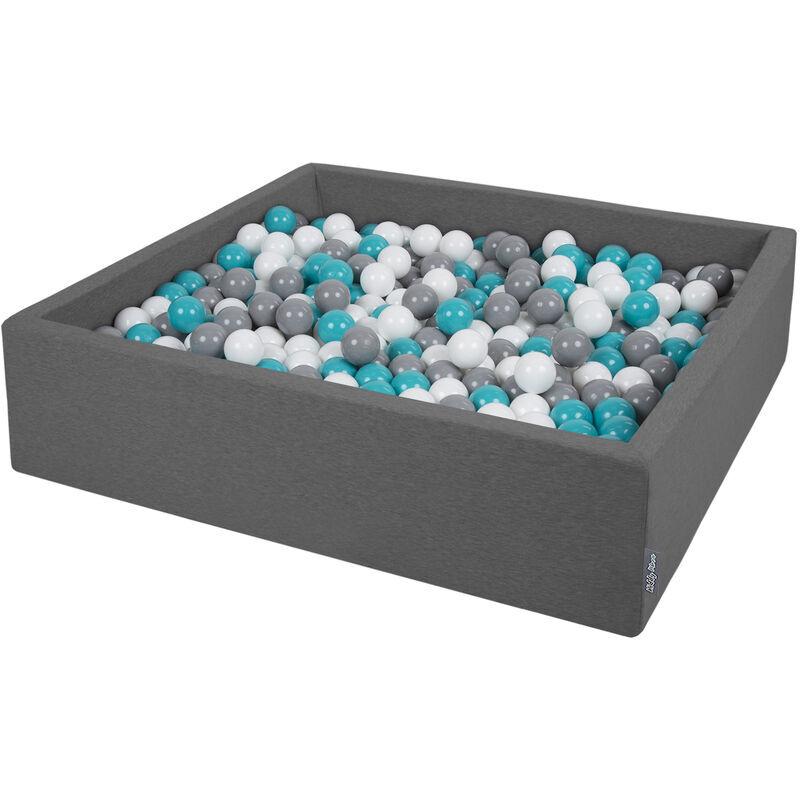 KiddyMoon Piscine À Balles 120X30cm/300 Balles Grande Carré Pour Bébé, Fabriqué En UE, Gris Foncé: Gris-Blanc-Turquoise