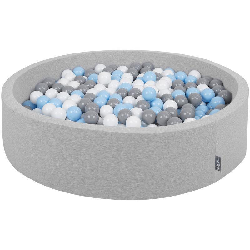 KiddyMoon Piscine À Balles 120X30cm/300 Balles Grande Rond Pour Bébé, Fabriqué En UE, Gris Clair: Gris-Blanc-Babyblue