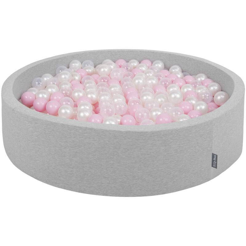 KiddyMoon Piscine À Balles 120X30cm/300 Balles Grande Rond Pour Bébé, Fabriqué En UE, Gris Clair:Rose Poudré-Perle-Transparent