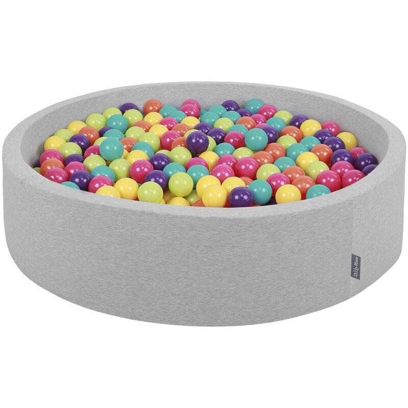 KiddyMoon Piscine À Balles 120X30cm/300 Balles Grande Rond Pour Bébé, Fabriqué En UE, Gris Cl:Vert Cl-Jaune-Turq-Orang-Rose Foncé-Violet