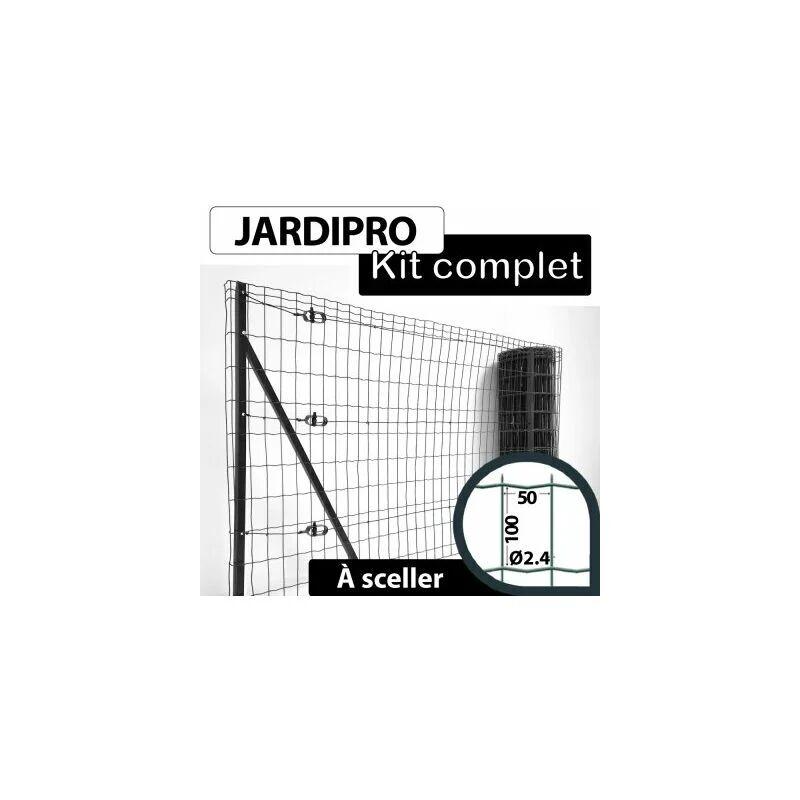 CLOTURE & JARDIN Kit Grillage Soudé Gris 100M - JARDIPRO - Maille 100x50mm - Triple lisière - 2 mètres