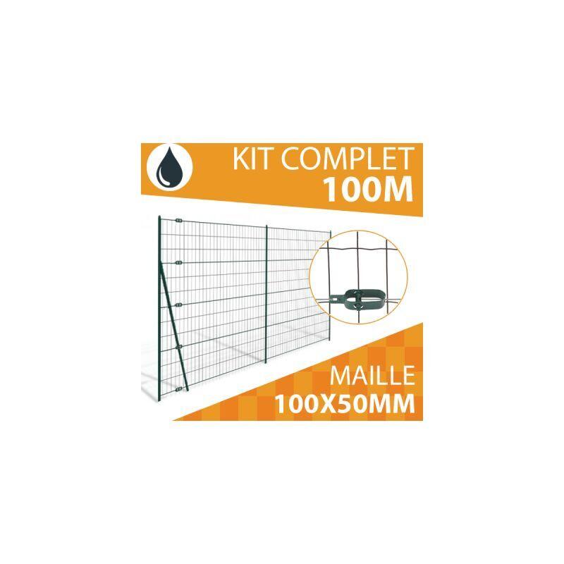 CLOTURE & JARDIN Kit Grillage Soudé Gris 100M - JARDIPREMIUM - Maille 100x50mm - 1,50 mètre